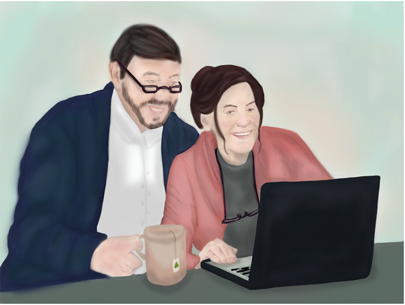 A man and a woman in later stages of life using a laptop and drinking tea
